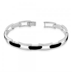 925 Sterling Silver Black Enamel Link Bracelet BR1127S JOCBR1127S