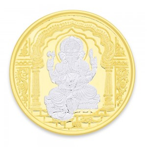 Gold Plated 999 Silver Lord Ganesha 10 Gram Coin JOCCOIN-GN10GM