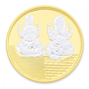 Gold Plated 999 Silver Lakshmiji with Ganesha 10 Gram Coin JOCCOIN-GNLX10GM