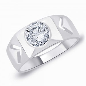 925 Silver Solitaire CZ Band Ring For Men's JOCFR1244R9