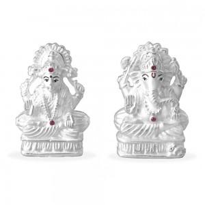 999 Silver Combo Of Lord Ganeshji And Lakshmiji Idol JOCGI1231F+GI1232F