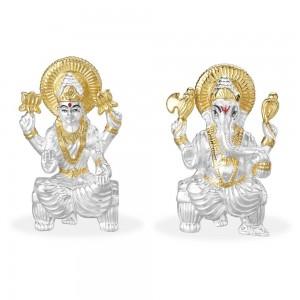 Silver Gold Plated 999 Silver Combo Of Lord Ganeshji And Lakshmiji Idol JOCGI1371G+GI1372G