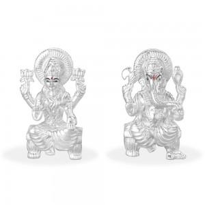 999 Silver Combo Of Lord Laksmi And Ganeshji Idol JOCGI1372HP+GI1371HP