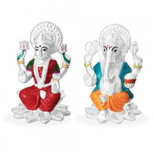 999 Silver Combo Of Lord Laksmi And Ganeshji Idol With Multicolor Enamel JOCGI1373EN+GI1374EN