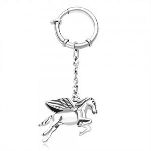 925 Sterling Silver Wings Horse Keychain JOCKC1228A
