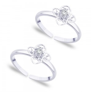 925 Sterling silver Floral Design with CZ toe ring for Women JOCLR0792S