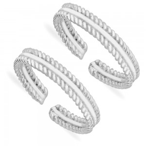 925 Sterling Silver Twisted Wire Toe Rings For Women JOCLR1059S