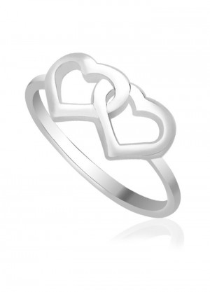 925 Sterling Silver Double Heart Finger Ring
