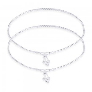 925 Sterling Silver Venetian chain Ending With Charm Anklet For Women