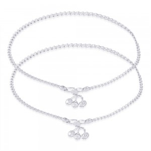 925 Sterling Silver Wheat Chain Ending With Charm Anklet For Women