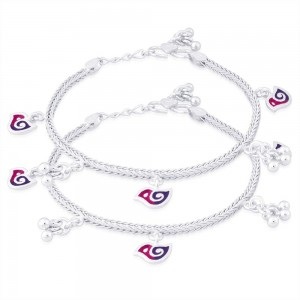 925 Sterling Silver Bird Charms Kids Anklet