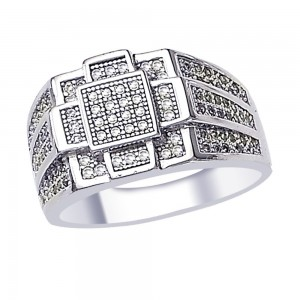 White CZ Classy 925 Sterling Silver Finger Ring For Men