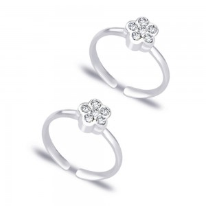 Floral White CZ 925 Sterling Silver Toe Ring For Women