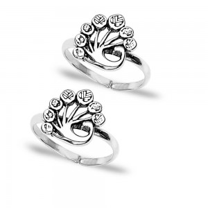 Peacock 925 Sterling Silver Toe Ring For Women