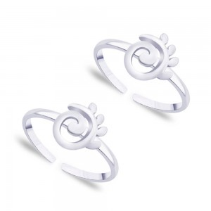 925 Sterling Silver Spiral Pattern Toe Ring For Women