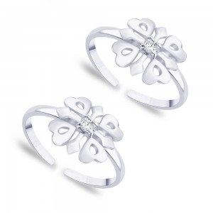 925 Sterling Silver Floral white CZ toe ring for women