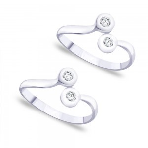 Top Openable White CZ 925 Sterling Silver Toe Ring For Women