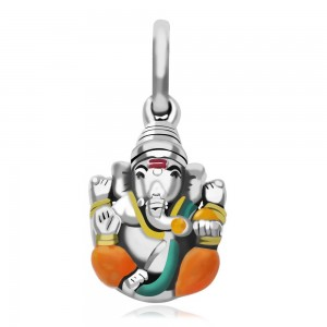 925 Sterling Silver Multicolor Enamel Ganesha Pendant For Unisex