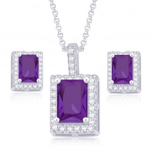 925 Sterling Silver Radiant Cut Purple CZ Pendant Set