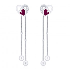 925 sterling silver Heart Design Drop Earrings for Women JOCCBER266I-01
