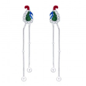 925 sterling silver Peacock Style Drop Earrings for Women JOCCBER266I-03