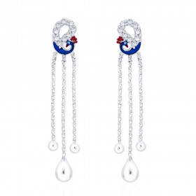 925 sterling silver Designer Peacock Drop Earrings for Women JOCCBER266I-06