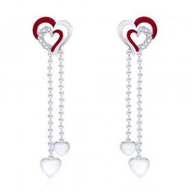 925 sterling silver Double heart Drop Earrings for Women JOCCBER266I-07
