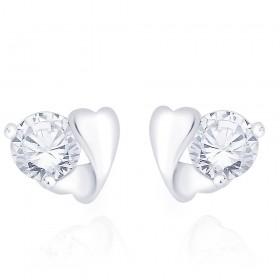 925 Sterling Silver CZ Heart Stud Earrings for Women JOCCBER267I-01