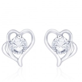 925 Sterling Silver CZ Heart Stud Earrings for Women JOCCBER267I-03